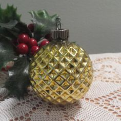 Vintage Shiny Brite Gold Glass Waffle Ball / Golf Ball Christmas Ornament. For Sale by DanushasCollectibles vintage Etsy shop.