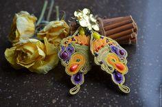 """Купить Серьги """"Крыло бабочки"""" - золотой, сережки, сутажные украшения, сутажные сережки, идея"""