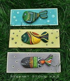 Painted stone green fish  Hand Painted pebbles Stone art