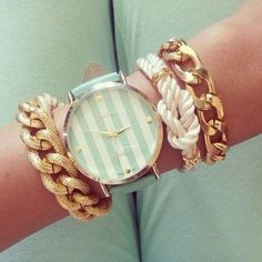 Bracelet and watch - mint and stripes - This fashion