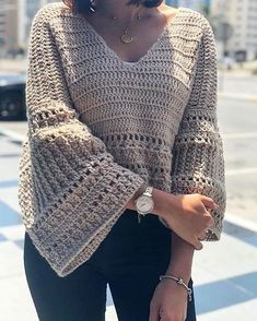 Ravelry: December Bells blouse pattern by Safaa Amin Crochet Coat, Crochet Cardigan, Diy Crochet, Crochet Clothes, Crochet Fashion, Beautiful Crochet, Clothing Patterns, Creations, Couture