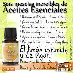 Seis mezclas increíbles de Aceites Esenciales con limón El limón estimula y da es vigor. Promueve la energía física y la purificación. El Aceite Esencial de limón es ideal para limpiar y purificar el aire, el hogar y el cuerpo.