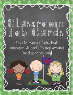 """FREE LESSON - """"Classroom Job Cards"""" - Go to The Best of Teacher Entrepreneurs for this and hundreds of free lessons.  #FreeLesson  #ClassroomManagement   #TeachersPayTeachers   #TPT  http://www.thebestofteacherentrepreneurs.net/2013/09/free-misc-lesson-classroom-job-cards.html"""