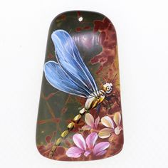 Beautiful Pendant Hand Painted Dragonfly Natural Gemstone bag Accessory ZL806722 #ZL #Pendant