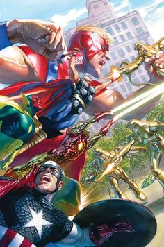 The Avengers by Alex Ross - Marvel Comic Book Artwork Avengers Comics, Marvel Comics Art, Bd Comics, Marvel Comic Books, Marvel Heroes, Comic Books Art, Comic Art, Captain Marvel, Avengers Art
