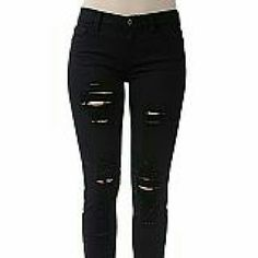 Skiny ripped black denim A must for this season, pair it with crops, tanks, light button downs, the sky is the limit. Super soft fabric, great quality. NOTE: The size is not JUNIOR,  that is the only choice to enter the size in the app, it is regular sizes, not junior. Jeans Skinny