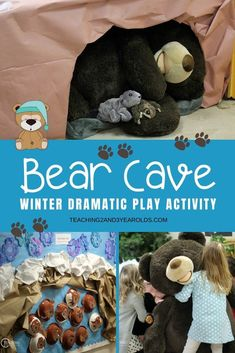 "We created a winter dramatic play idea to learn about how bears sleep during the winter. We accompanied this with an adorable paper plate bear art activity! A fun activity to go with the book ""Bear Snores On"". Preschool Learning Activities, Animal Activities, Toddler Preschool, Preschool Centers, Preschool Class, Toddler Activities, Camping Dramatic Play, Preschool Dramatic Play, Animal Adaptations"