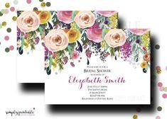 Bridal Shower Invitation Wedding Shower Invite Watercolor