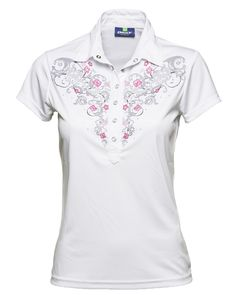 Rebecca Cap/s Polo this ladies caps sleeve polo is designed with grey and pink porcelain print around the collar and chest area. #golfpolo #DailySportsUSA #sale