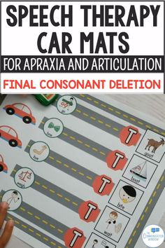Final Consonant Deletion and CVC Car Mats for Apraxia and Phonology Preschool Speech Therapy, Articulation Therapy, Speech Activities, Speech Language Therapy, Speech Pathology, Speech Therapy Activities, Speech And Language, Play Therapy, Preschool Articulation Activities