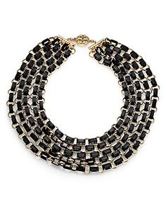 Tory Burch Aselma Leather Multi-Strand Necklace