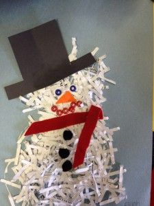 shredded paper snowman, recycled crafts