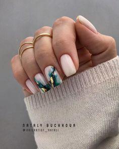 Summer Acrylic Nails, Cute Acrylic Nails, Cute Nails, Squoval Acrylic Nails, Marble Acrylic Nails, Fall Gel Nails, Cute Short Nails, Cute Acrylic Nail Designs, Marble Nail Designs