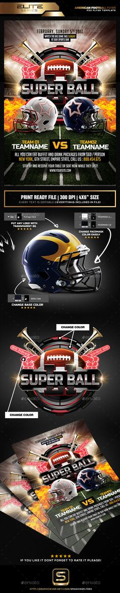 #American #Football Game #Flyer - Sports Events Download here: https://graphicriver.net/item/american-football-game-flyer/19298651?ref=alena994