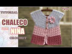 chaleco tejido a crochet para niña de 1a 3 años paso a paso - YouTube