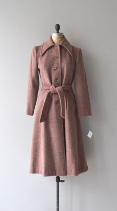 Rose Dust coat 1970s wool princess coat 70s belted by DearGolden
