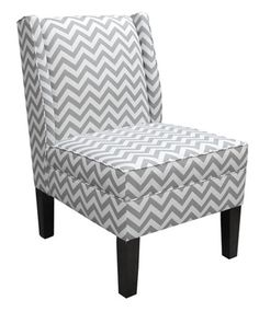 Fun graphic chevron pattern in gray and white on a modern armless chair