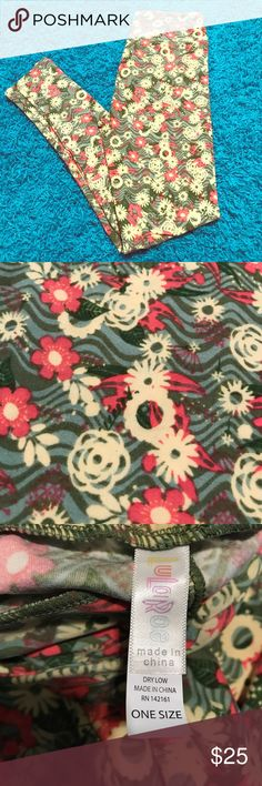 LulaRoe Floral Leggings 🌸 Brand New, never worn or even tried on! Super cute floral pattern, pink, green, cream flowers. *Gift with purchase*🌸 LuLaRoe Pants Leggings