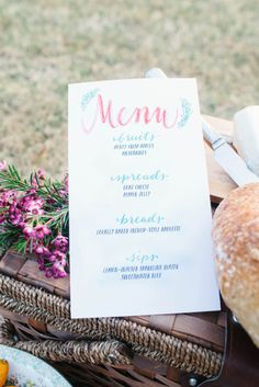 Picnic menu: http://www.stylemepretty.com/georgia-weddings/atlanta/2014/10/03/altanta-floral-engagement-shoot/ | Photography: Kait Murphy - http://kaitmurphy.com/