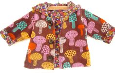 Enchanted Forest Hoodie This magical fleece jacket is completely REVERSIBLE!!! What beautiful colors. It is done in a multi color fleece mushroom print and a soft floral flannel. This jacket can be made in the following sizes... Newborn – 3 months (up to 13 lbs) 3 – 6 months (up to 18 lbs) 6 – 12 months (up to 22 lbs) 12 – 18 months (up to 27 lbs) 18 - 24 months / 27-30lbs, Height-31 2T / 30-33lbs, Height 34 3T / 33-36lbs, Height 37 4T / 36-40lbs, Height 40 Convo for pos...