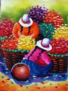 Serranitas Andean Oil Painting Picture Cuzco Chincheros What is Art ? Acrylic Painting Flowers, Fabric Painting, Painting Art, Oil Painting Pictures, Pictures To Paint, Mexican Paintings, Peruvian Art, Southwest Art, Indigenous Art