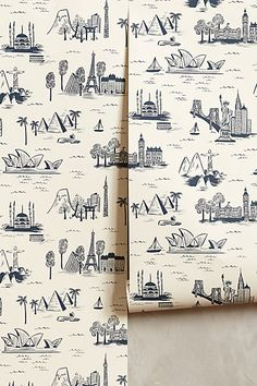 Cities Toile Wallpaper - anthropologie.com. Designed by Rifle Paper Co. for Hygge & West