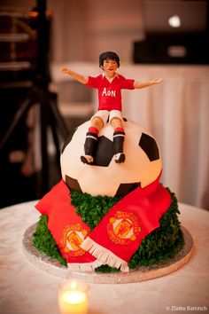 The groom's Manchester United cake from Beth and Kal's Wedding at Searles Castle...looks just like him