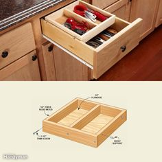 Deep drawers often contain a jumbled pile of interlocking utensils. Our solution is a sliding tray that creates two shallower spaces. Make it 1/8 in. narrower than the drawer box, about half the length and any depth you want (ours is 1-3/4 in. deep). When you position the holes for the adjustable shelf supports, don't rely on measurements and arithmetic. Instead, position the tray inside the drawer box at least 1/8 in. lower than the cabinet opening and make a mark on the tray. Our shelf…