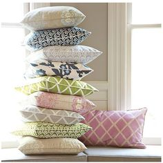 Pillows!  I want the entire stack, plus yellow ones... #Serena&Lily