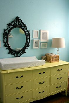 Repurposed dresser/changing table.