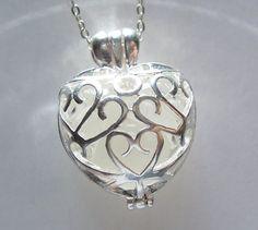 Sea Glass Heart Locket Silver Filigree by BeachGlassMemories, $18.98