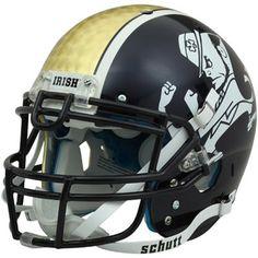 Schutt Notre Dame Fighting Irish 14K Gold Full Size Authentic Football Helmet - Gold/Navy Blue - FootballFanatics.com College Football Logos, Nd Football, Football Helmet Design, Sports Helmet, Notre Dame Football, Football Uniforms, Football Quotes, Noter Dame, Cowboys Helmet