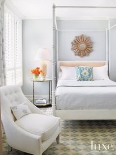 Guest Bedroom With Sculptural Lamp