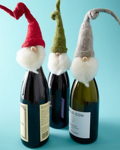 Furry beards and bendable woolly felt hats make this trio of charming Santas essential guests for holiday parties and special dinners. These funny little fellows wrap around the tops of wine bottles for fun host and hostess gifts.
