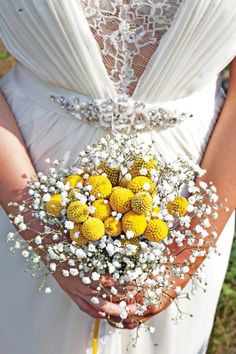 Beautiful bouquet of baby's breath and billy balls.