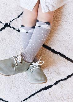 Foxy Raccoon Knee Socks - Grey
