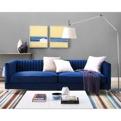Aviator Blue Velvet Sofa - TOV-S101 Description : Your room will soar to new heights with the stylish Aviator sofa. Offering a contemporary flair with a touch of sophistication, this velvet sofa is un