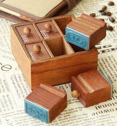 Vintage Drawer Stamps  Wooden Stamp  Diary Stamp  Rubber от Youga