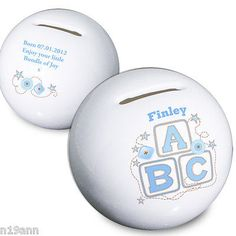 New personalised blue abc #money box perfect gift #christening birth #birthday,  View more on the LINK: http://www.zeppy.io/product/gb/2/300862113581/
