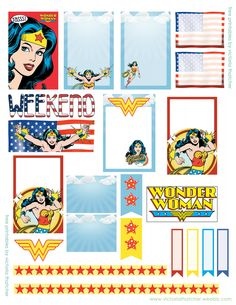 Wonder Woman Printable for Happy Planner - Victoria Thatcher Carton Invitation, Freebies, Planner Decorating, Planner Pages, Planner Ideas, Printable Planner Stickers, Happy Planner, Free Planner, Hello Kitty