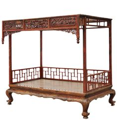 Chinese Carved and Lacquered Canopy Bed | From a unique collection of antique and modern beds at https://www.1stdibs.com/furniture/more-furniture-collectibles/beds/