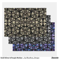 Gold Silver & Purple Mother Of Pearl Collection Wrapping Paper Sheets