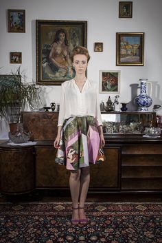 "Skirt made of a painting by Katarzyna Szymkiewicz entitled ""Ogród żałobny""; photo: Dawid Kot, model: Anna Maria Marylska;"