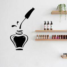 Nail Polish Beauty Manicure Salon Wall Window Vinyl Decal Sticker Nail Salon Ad Decor Nail Polish Be Wall Stickers Window, Wall Decals, Vinyl Decals, Wall Art, Nail Salon Decor, Salon Signs, Girl Bedroom Walls, Pink Art, Self Adhesive Wallpaper