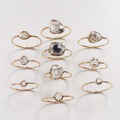 An Array of Diamond Slice Rings #14K #diamondslice #diamondsintherough #valejewelry