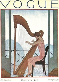 Vogue cover ~ by Andre Edouard Marty ~ August 1926    Really miss my harp somedays.