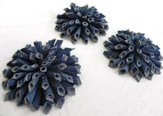 Denim Blue Jeans Fabric Flowers, Mum style