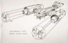 Star Wars Y-Wing concept art sketch - Drawing Types 2020 Ralph Mcquarrie, Star Wars Ships, Star Wars Art, Star Art, Joe Johnston, Animation 3d, Star Wars Concept Art, Alien Concept, Star Wars Vehicles