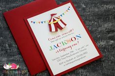 Circus Tent Invitations · A2 LAYERED · Birthday Party | Baby Shower | Carnival