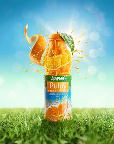 Pulpy on Behance In this clever ad for an orange juice called pulpy, the designers turned the ad into an actual orange. I like the way that they combine advertising their drink and also including that it's made with real fruit. The ad is also very bright, so this adds to the effect that it's made fresh.
